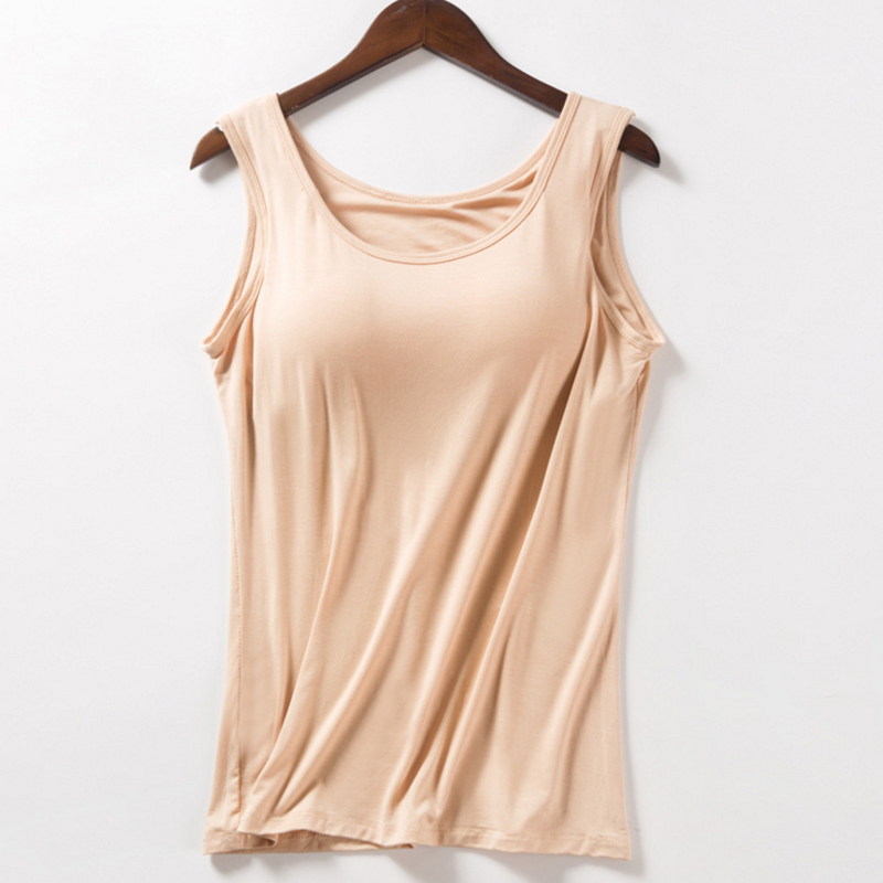 Summer Fitness Tops <font><b>Push</b></font> <font><b>Up</b></font> Bra Vest Camisole Solid Casual Basic <font><b>Shirt</b></font> Built In Bra Padded Tank Top Modal Breathable Women image