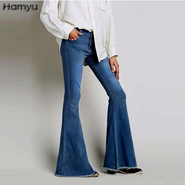 mujer lavado mujeres campana Vaqueros 2017 estilo baja Pantalones cintura Vaqueros vintage flacos elásticos pierna retro FnqTRTAgxw