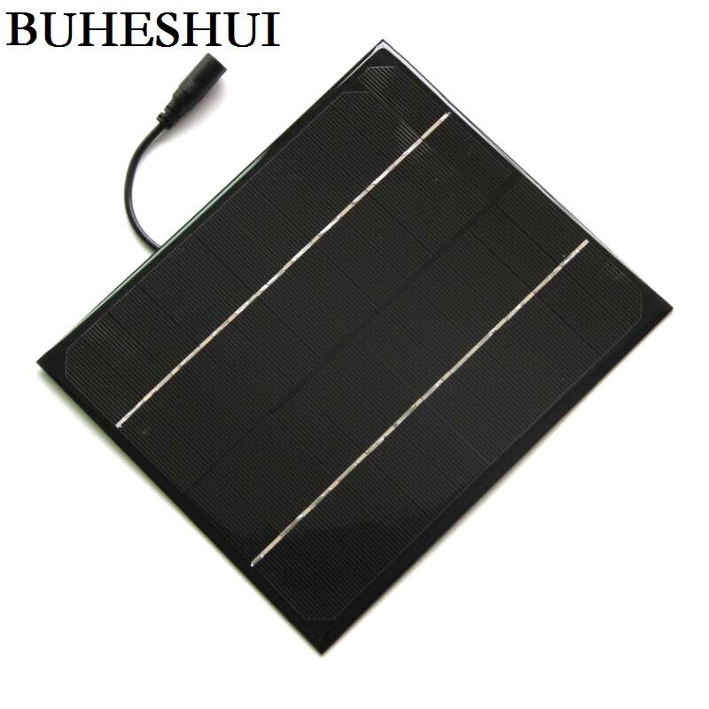 BUHESHUI 6W 12V/18V Mono Solar Cell+5521DC Cable DIY Solar Panel Charger For 12V System Battery 170*200MM Study Free Shipping
