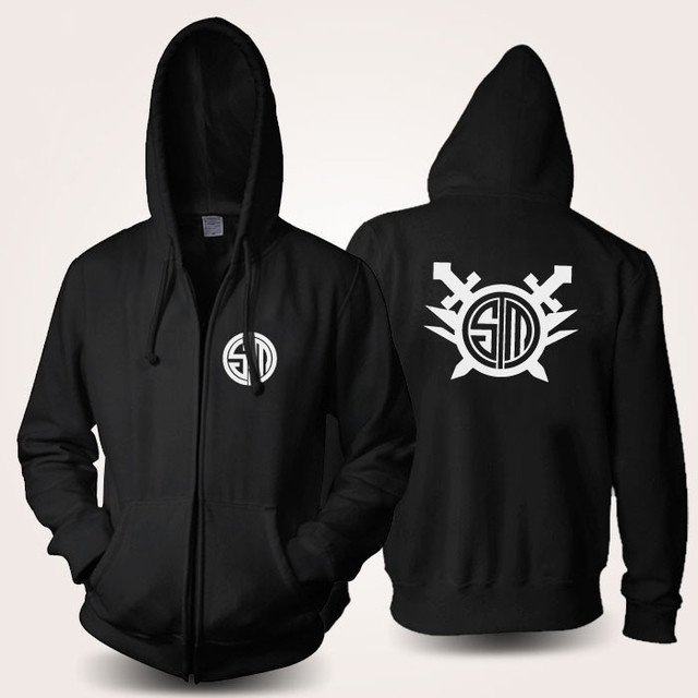 lol team tsm anime cosplay costume black fleece zipper pullover