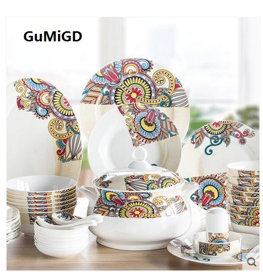 Guci english 56Piece dinnerware set Ceramic iniduality dishes sets Korean dishes Jingdezhen household utensils bowls plates-in Dinnerware Sets from Home ...  sc 1 st  AliExpress.com & Guci english 56Piece dinnerware set Ceramic iniduality dishes ...