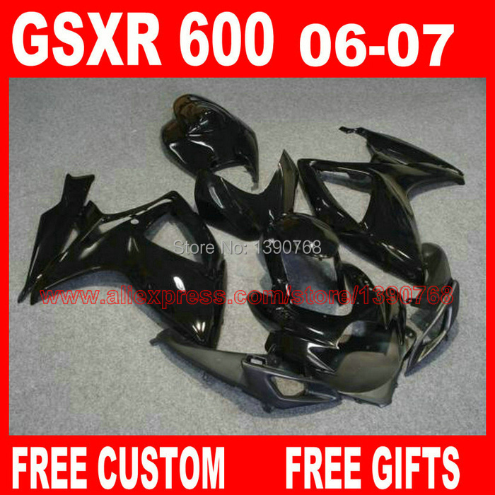 Free customize <font><b>fairing</b></font> <font><b>kit</b></font> for 06 <font><b>07</b></font> SUZUKI K6 <font><b>GSXR</b></font> <font><b>600</b></font> 750 all glossy black <font><b>fairings</b></font> set gsx-r600 2006 GSX-R750 2007 HV68 image