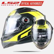 LS2 ff396 fibra di carbonio fronte pieno moto rcycle casco doppia visiera airbag pompa 100% originale cascos moto LS2 chopper casco ECE