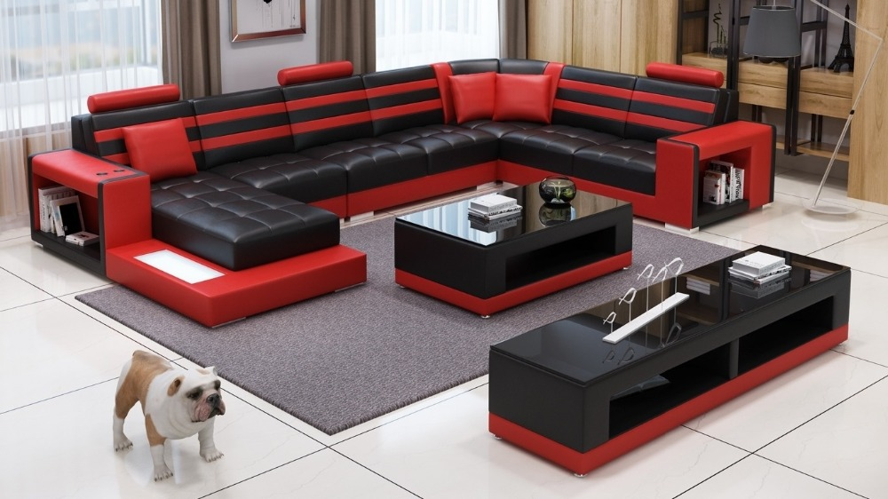 Genuine Leather Sofa Set With Couch