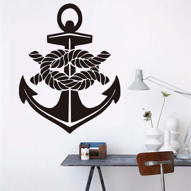 Nautical Anchor Vinyl Wall Stickers Home Decor Ship Art Self Adhesive  Wallpaper Living Room Bedroom Decals