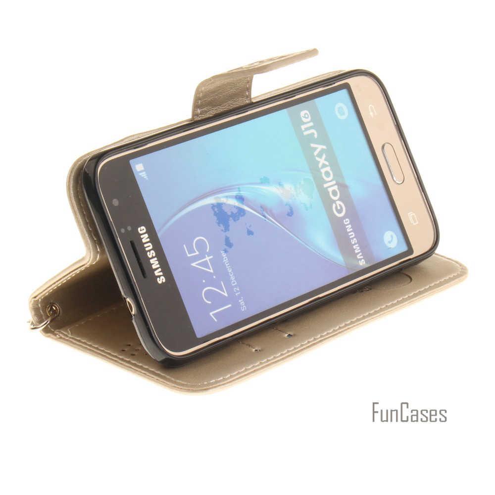 Для Samsung Galaxy J1 (2016) J120 J120F из искусственной кожи чехол с функцией подставки держатель для карт обрезание панда Магнитный флип-чехол с бумажником