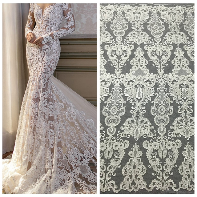 5yards off white Wedding dress guipure lace fabric elegent cord embroiery for bridal wedding lace fabric