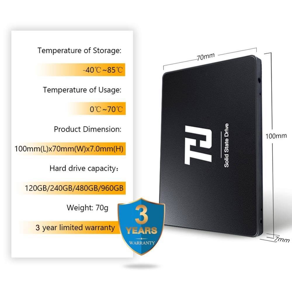 """Image 5 - THU SSD SATA3 120GB 240GB Internal Solid Hard Disk Drive 480GB 1TB 540MB/s 2.5"""" for PC Laptop notebook-in Internal Solid State Drives from Computer & Office"""