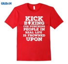 GILDAN Kickboxing Coz Punching People Is Frowned Upon T-shirt