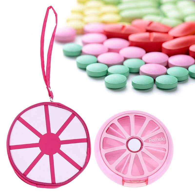 Вращающийся Pill контейнер 7 дней в неделю фрукты шаблон круглые таблетки Pill держатель Медицина сумка наркотиков Pill Box