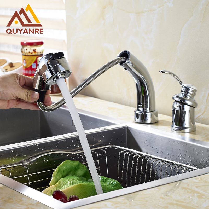 Chrome Polish Kitchen Mixer Faucet Adjustable Height Pull Out Hot and Cold Water Faucet Dual Hole