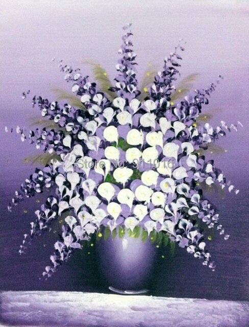 Peintures à Lhuile à La Main Toile Moderne Couteau Violet Fleur