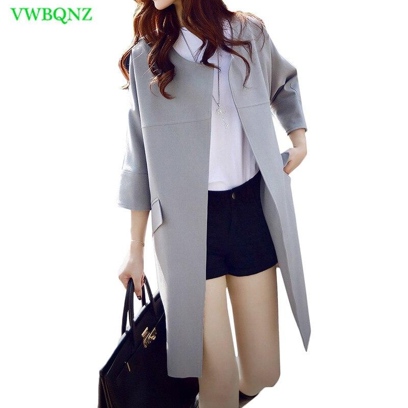 Autumn Winter New Cocoon type Windbreaker coat Women Loose Long   Trench   coat Women's Seven-quarter sleeve Black Outerwear XS A736