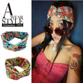 NEW wholesale retail fashion cotton floral fabric twist turban cross wide headband hair accessories popular for women 12cm wide