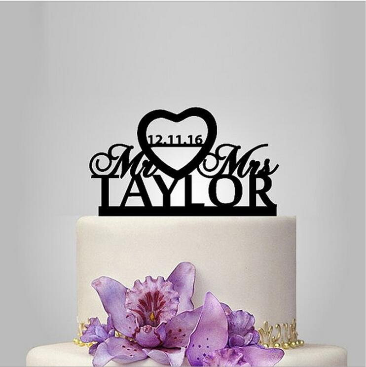 Gold/Silver/Black Color Customized Acrylic Wedding Couple Cake Topper Personalized Mr & Mrs  Cake Stand Supplies