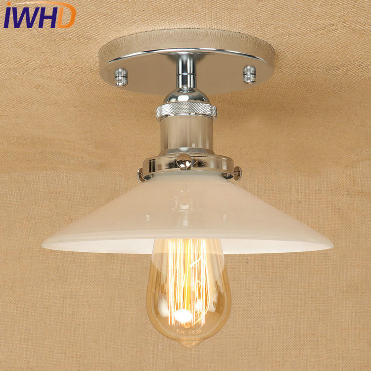 IWHD Loft Style Edison Industrial Vintage Ceiling Lamp Antique Iron Glass LED Ceiling Light Fixtures Indoor Lighting Lamparas rh loft edison industrial vintage style 1 light tea glass pendant ceiling lamp hotel hallway store club cafe beside