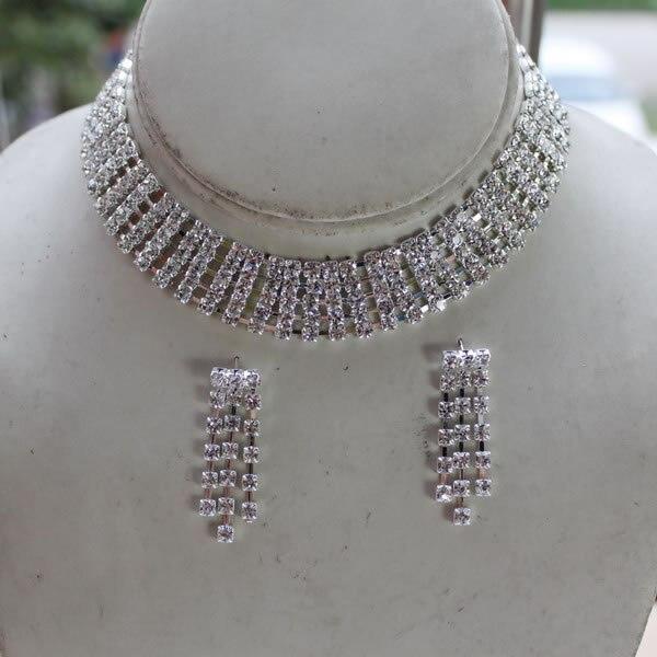 5 hebras de cristal transparente de la taza de la cadena del diamante de imitación del collar y del pendiente gargantilla nupcial de la boda de la joyería conjunto envío gratis