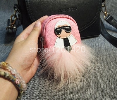 karl key wallet real leather mini backpack change purse pendent keyring keychain bag charm fox pluffy keybag