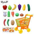 HziriP 17Pcs/lot Kitchen Toys Pretend Play Toys Cutting Fruit Vegetable Trolley Pretend Play Children Kids Educational Toy