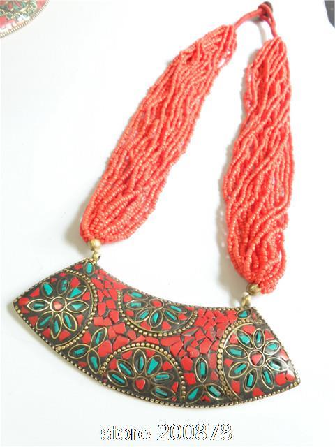 TNL556  Nepal Big Vintage Pendants Necklace Coral Tribal Fashion Wholesale Tibetan Jewerly