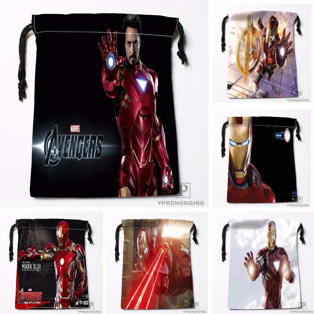 Custom Avengers Iron Man Drawstring Bags Printing Travel Storage Mini Pouch Swim Hiking Toy Bag Size 18x22cm#180412-11-04