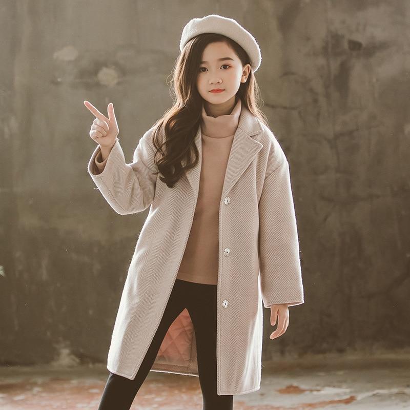 20dd90bf5 Figwit Autumn Winter Teenage Girl Outwear thicken Woolen Coat for ...