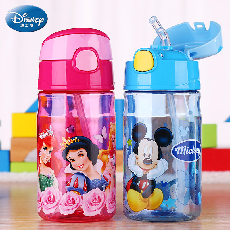 Disney Water Bottle <font><b>Mickey</b></font> Mouse Kids straw My Water Bottle Bickiepegs Baby water Cartoon Plastic Water Tumbler BPA Free