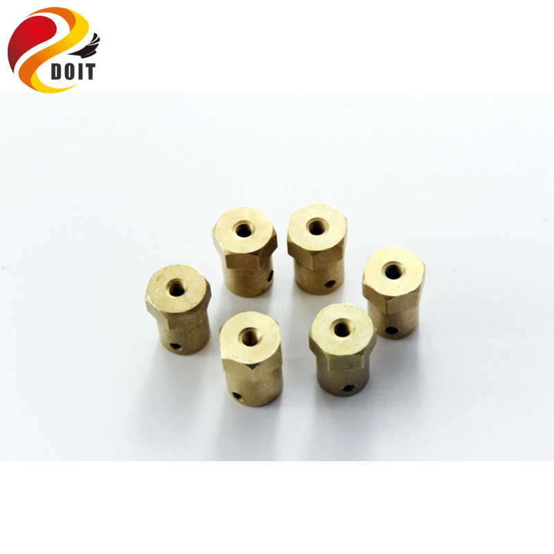 DOIT copper Hex Coupling for robot car chassis Copper Connector to Wheel 4wd/2wd Smart Car motor diy smart car part for arduino