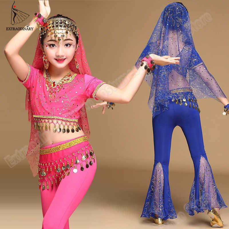 בנות בוליווד ריקודי בטן הודי סט סארי שיפון תלבושת ליל כל הקדושים ביצועים למעלה חגורת מכנסיים רעלה כיסוי ראש
