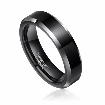 8mm & 6mm Couples Black Tungsten Ring   1