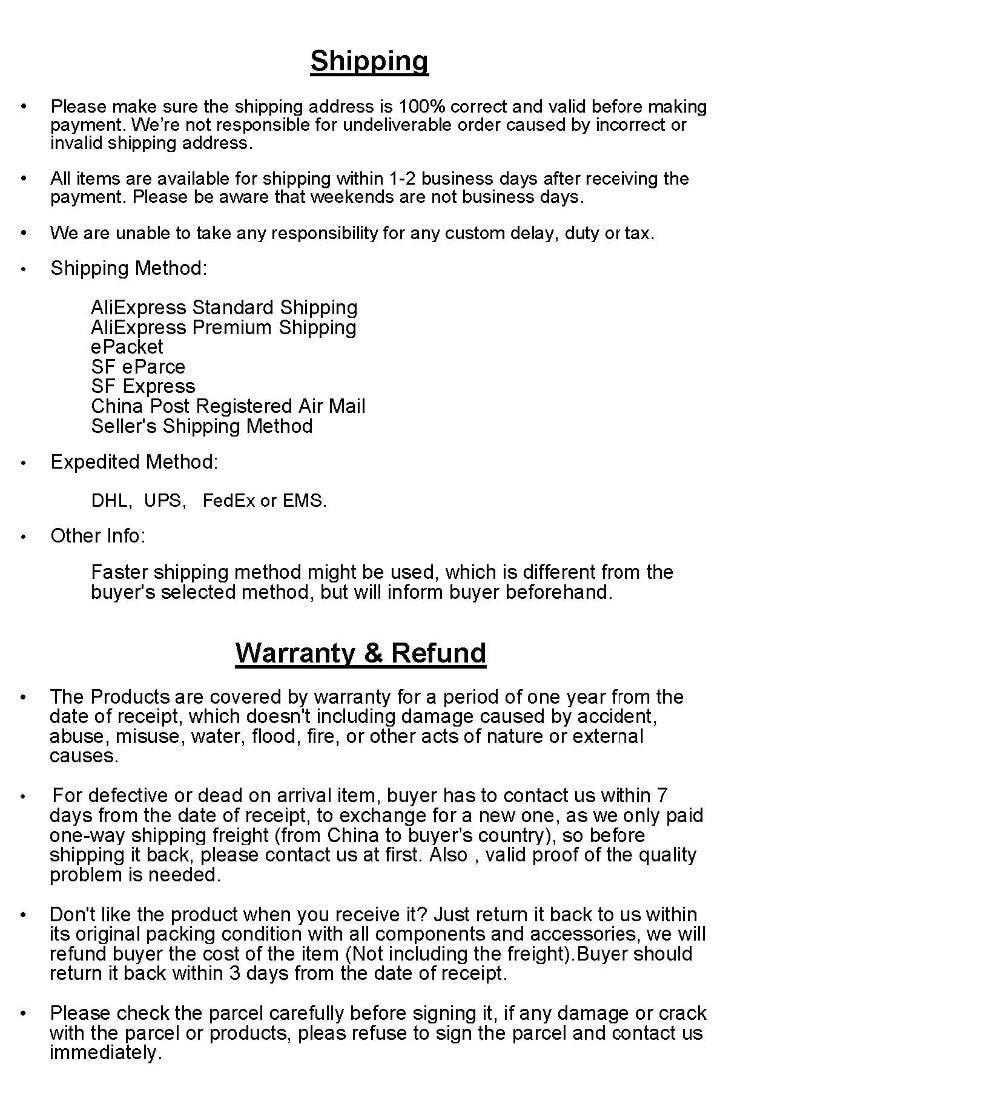 Shipping, Warranty & Refund2