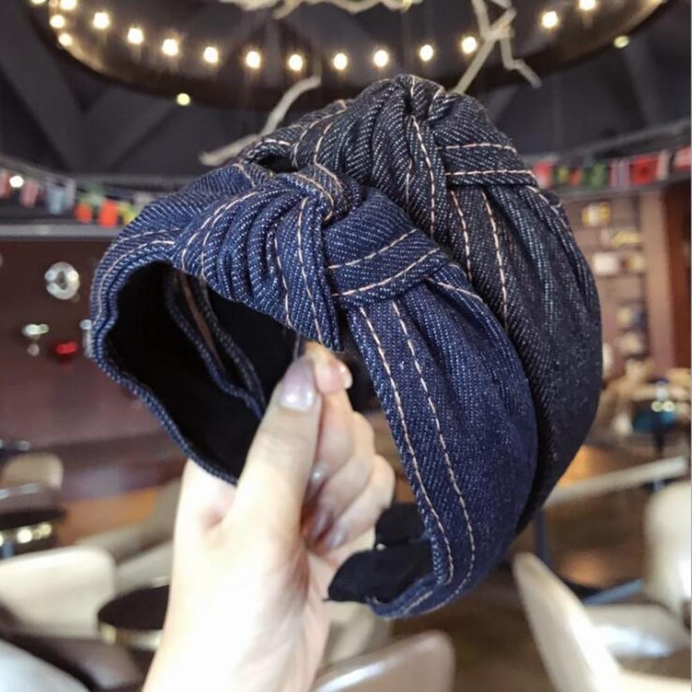 2019 New Spring Hairband Solid Denim Hair Accessories Vintage Turban Hair Hoop Wide Side   Headwear   Wholesale