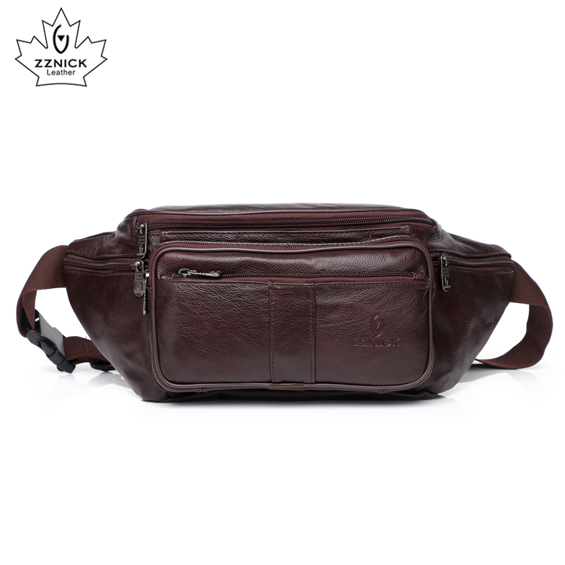 Cow Genuine Leather Waist Pack Belt Waist Pack Waist Bag Funny Pack Belt Bag  Men Chain Waist Bag For Phone Pouch Fashion ZZNICK
