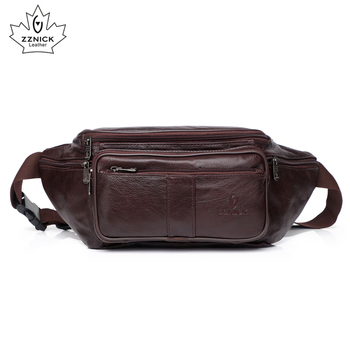 Cow Genuine Leather Waist Pack Belt Waist Pack Waist Bag Funny Pack Belt Bag  Men Chain Waist Bag For Phone Pouch Fashion ZZNICK aimeison genuine leather waist bag men waist pack waist bag funny pack belt bag men chain waist bag for phone pouch