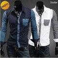 Camisas dos homens da moda 2016 primavera Outono Vestido Patckwork luxo Lazer Longo-luva Camisas Camisa Masculina dos homens Roupas de Marca