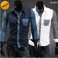 mens shirts fashion 2016 spring Autumn Dress Patckwork Men's luxury Leisure Long-sleeve Shirts Camisa Masculina Brand Clothing