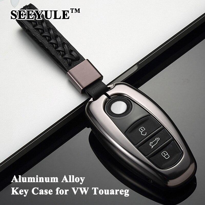1 pc SEEYULE Deluxe en alliage d'aluminium voiture porte-clés coquille avec ceinture en cuir véritable couverture de clé sac de rangement protecteur pour VW Touareg