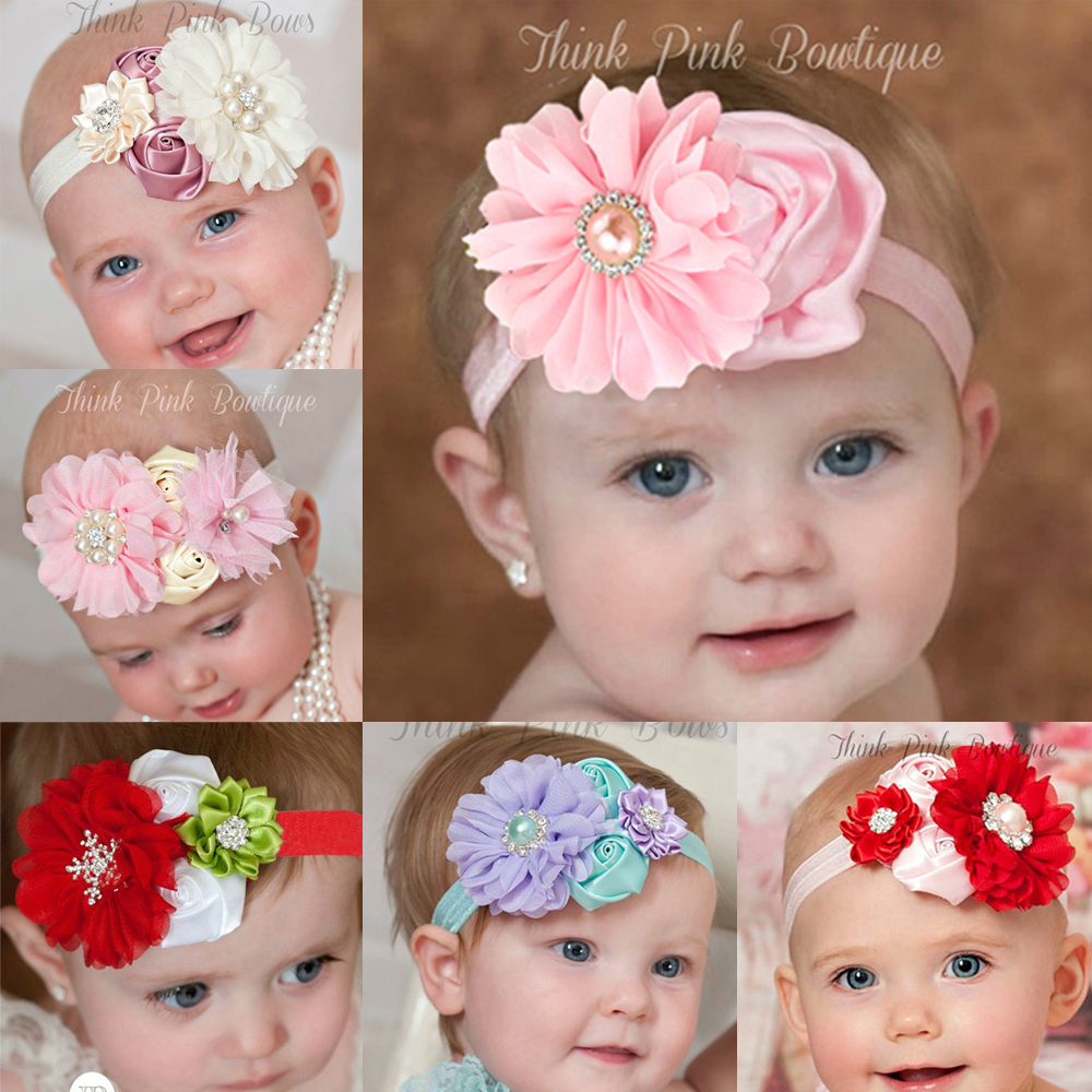 2016 newest design baby girl flower headband hair flower band rhinestone kids head band children hair accressories