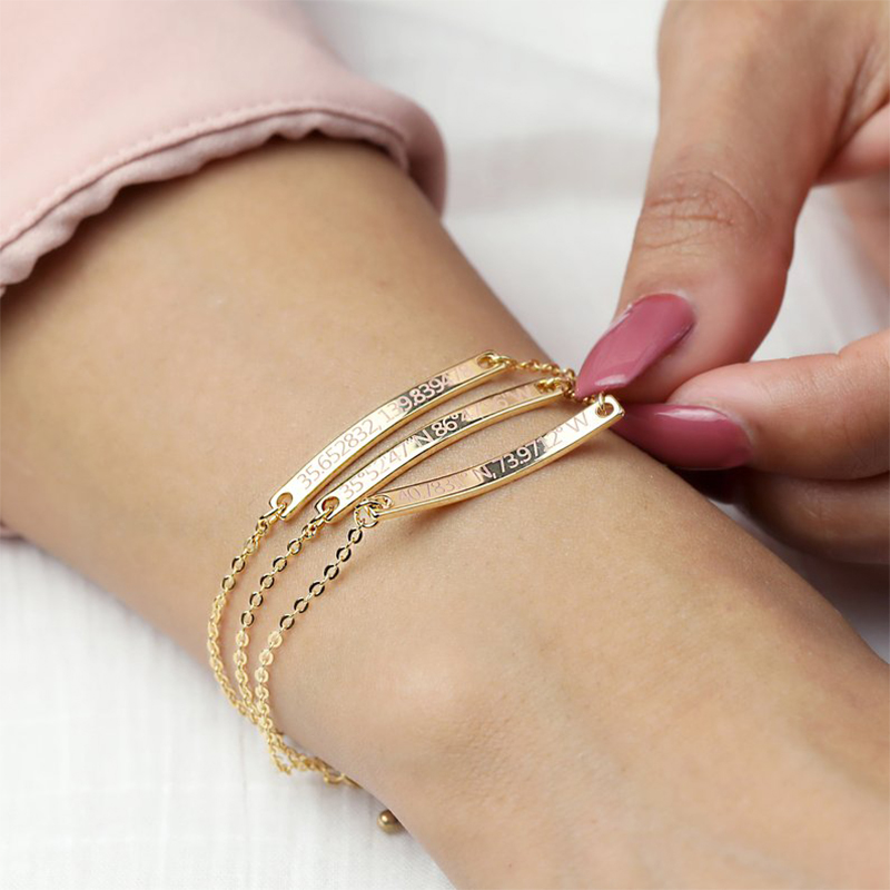 Personalized Bangles Gold Stainless Steel Jewelry  Women Bracelet  Friendship  Bracelet Gold Custom Bracelet Necklace Women Gift