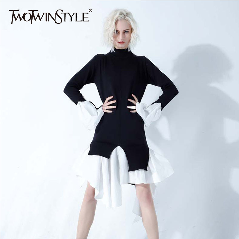 TWOTWINSTYLE Ruffles Patchwork Sweater For Women Stand Collar Long Sleeve Irregular Long Knitting Pullover Tops Female 2019