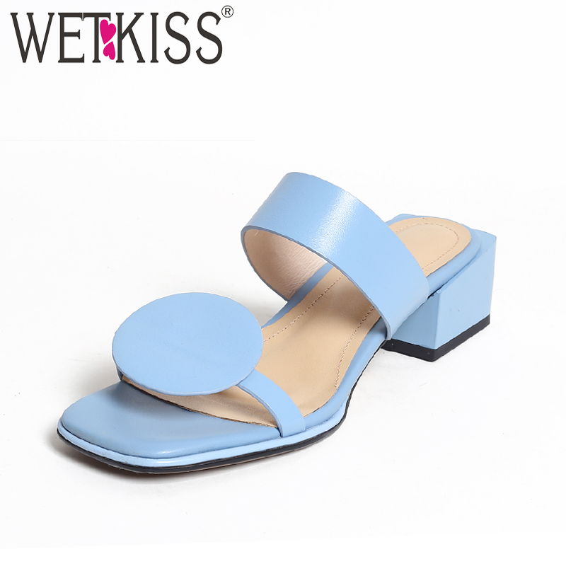 WETKISS New Summer Med Heels Women Slippers 2018 Fashion Casual Ladies Mules Shoes Open Toe Square Heels Leather Slides Footwear стоимость