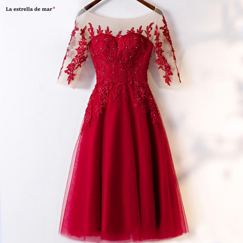 Vestido Madrinhas De Casamneto2019 New Tulle Applique Scoop Neck Half Sleeve A Line Burgundy Bridesmaid Dresses Tea Length