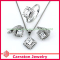 Carraton SXF3017 White Gold Plated Rhombus Shaped Swiss Diamond Jewellery Sets
