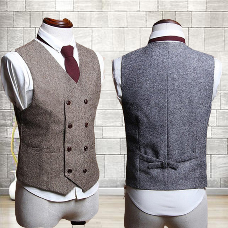 Spring Autumn Men Suit Vest Wool Double Breasted Waistcoat British Vintage Colete Dress Wedding Vest Formal Sleeveless Jacket image