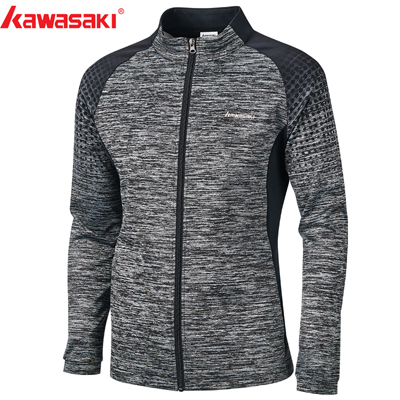 Kawasaki новые осенние мужские спортивные куртки дышащие Комфортные куртки для фитнеса бадминтона теннисные Куртки Пара моделей с молнией JK-S1803 - Цвет: JK-S1803Gray