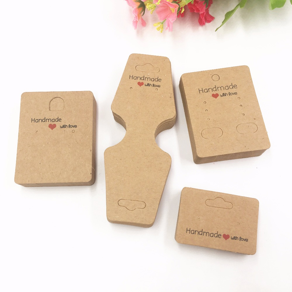 100pcs Kraft Paper Handmade With Love Jewelry Cards/necklace/earring/Hairpin Packing Cards Holder Set Jewelry Displays Card