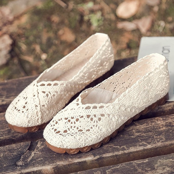 Shoes Women2019 Summer Lace Hollow Cloth Peas Shoes Flat Casual Women's Shoes Breathable Soft Bottom Hand-woven Cloth Loafers