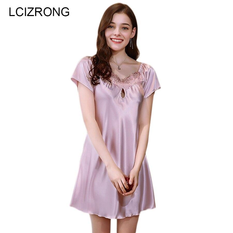 New Home Dress Summer Satin Cool Women Nightgown 12 Style M-4XL Large Size Mini Nightdress Loose Comfortable Ladies Sleepwear