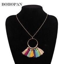 Bohopan Boho Tassel Necklace For Women Vintage Metal Hollow Round Bohemian Style Fashion Statement Neck Jewelry Trend