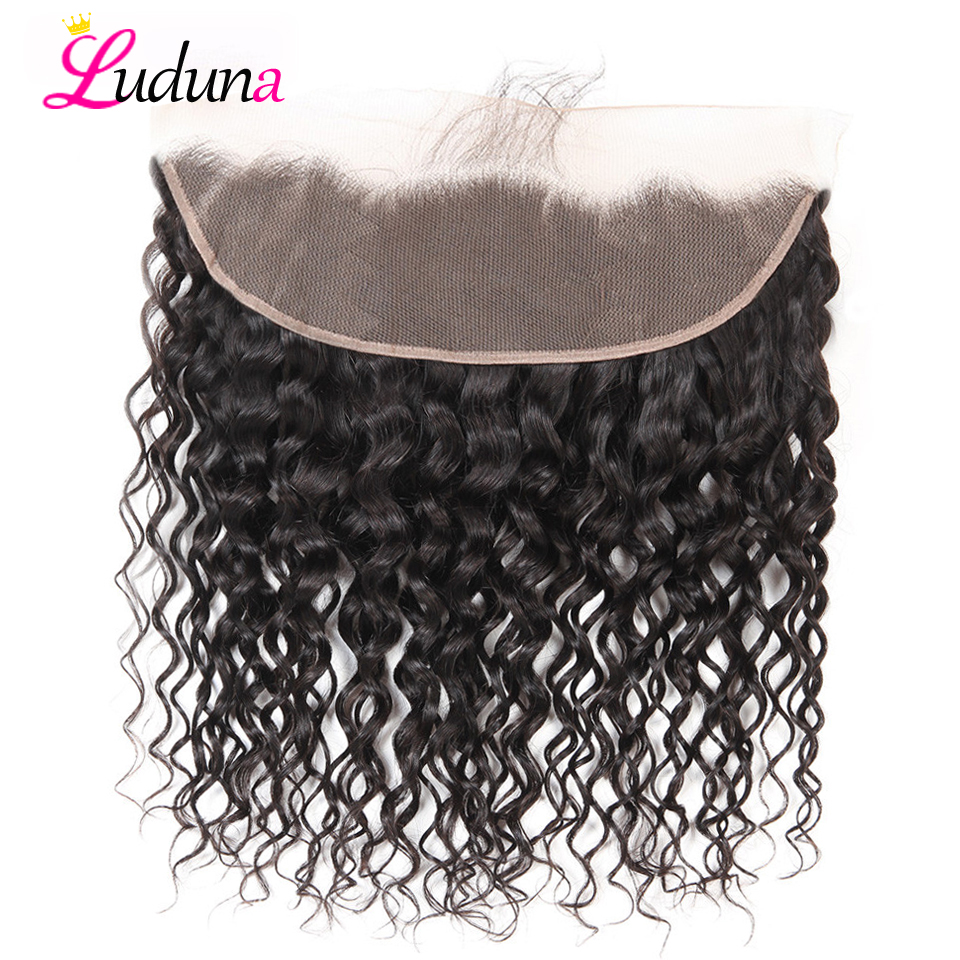 Luduna Brazilian Water Wave 13x4 Ear To Ear Pre Plucked Lace Frontal Closure With Baby Hair
